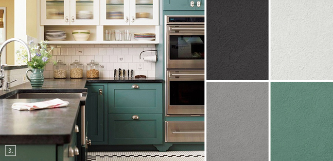 A palette guide for kitchen color schemes decor and paint for Good kitchen paint colors